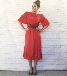Vintage 80s Does 40s Art Deco Pleated Flutter Sleeve Red Midi Dress M Flared Harlequin Embossed by PopFizzVintage on Etsy