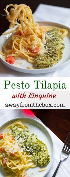 Short on sauce but big on flavor, this Pesto Tilapia with Linguine is so fast and easy, you can have it on the table in 30 minutes or less. Baked Tilapia Recipes, Fish Recipes, Seafood Recipes, Pasta Recipes, Cooking Recipes, Healthy Recipes, Talapia Recipes Easy, Talipia Recipes, Baked Fish