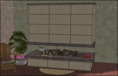 Awesims Midcentury Fireplace converted by HugeLunatic