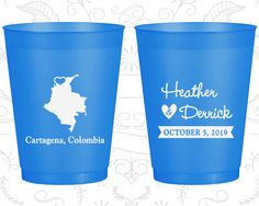 Colombia Wedding, Wedding Frosted Cups, Destination Wedding, Blue Frosted Cups, Cartagena Wedding (168)