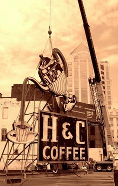 """[The """"H Coffee Company"""" has been based in Roanoke since 1927. The H  sign was erected in 1946 at this location.  It enriches Roanoke's downtown skyline.  This sign is classified as a historical landmark.]  [Source: http://www.agilitynut.com/signs/va.html]"""