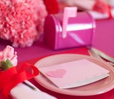 :-)   -Table decorations for Valentine's Day - Mailbox and letter on the table