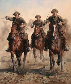 """Alcántara ¡¡Viva España!!"""". Óleo que representa a jinetes del Regimiento de Cazadores de Alcántara, 14º de Caballería, en una carga durante el """"Desastre de Annual"""", en julio y agosto de 1921."""