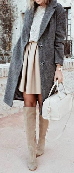 #winter #outfits gray 2-button coat, nude-colored top and pleated skirt outfit