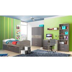 Simple Jugendzimmer mit Bett x cm Grau Matt Sonoma Eiche Grau Woody Jugendzimmer SetM bel KinderzimmerSonoma