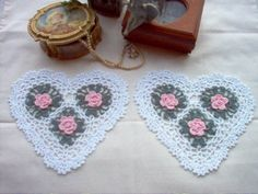 Crocheted heart doilies - perfect for Valentines Day!