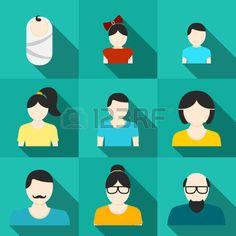 Set di icone familiari piccolo bambino bambina e bambino adolescente ragazzo e ragazza uomo e donna  Archivio Fotografico