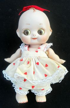 ADORABLE VINTAGE BISQUE JOINTED GLASS GOOGLY EYE KEWPIE SIGNED SUSIE HILL #7 | eBay