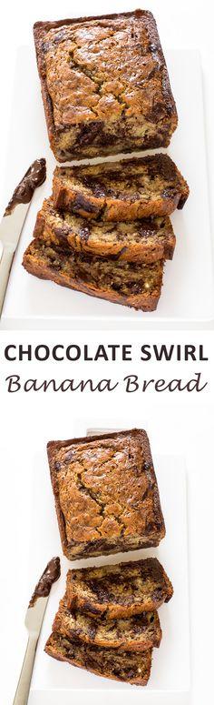 Marbled Chocolate Banana Bread. Super moist banana bread swirled with chocolate! | chefsavvy.com #recipe #chocolate #swirl #banana #bread #breakfast