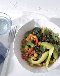 Saffron Chickpeas and Bitter Greens with Quinoa