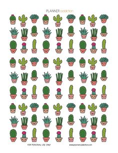 Free Printable Planner Stickers - Cactus Kawaii