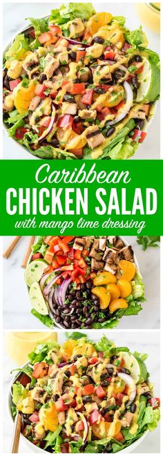 Grilled Caribbean Chicken Salad with 5 Minute Mango Dressing – Packed with juicy chicken, crunchy veggies, sweet oranges, and black beans with the BEST mango dressing. Fresh and filling! Get the recipe at wellplated.com @wellplated