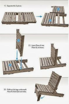 Ted's Woodworking Plans - DIY Make a chair by pallet You can easily make your own wooden chair by pallet. Just separate its two pieces, insert them one i. Get A Lifetime Of Project Ideas & Inspiration! Step By Step Woodworking Plans Pallet Garden Furniture, Diy Outdoor Furniture, Furniture Decor, Furniture Projects, Palette Furniture, Furniture Storage, Diy Pallet Projects, Woodworking Projects Diy, Woodworking Plans