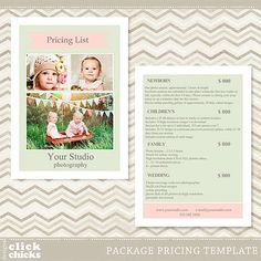 Photography Package Pricing List Template By Rakusiadesigns