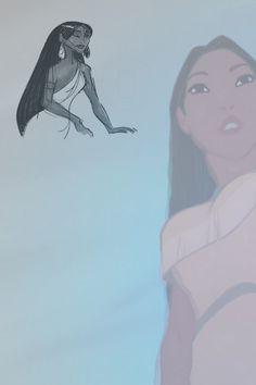 Pocahontas and her concept sketch.