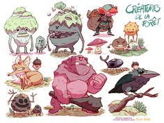 """Créatures de la Forêt"" by Fabien Mense. Character study for Method Animation's ""Robin Hood: Mischief in Sherwood""."