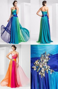 New Sweetheart Chiffon Bridesmaids dresses for peacock themed wedding! Blue and green colors