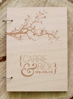 "Custom Wedding guest book wood rustic wedding guest book album bridal shower engagement anniversary- ""Love Birds Tree"". $44.00, via Etsy."