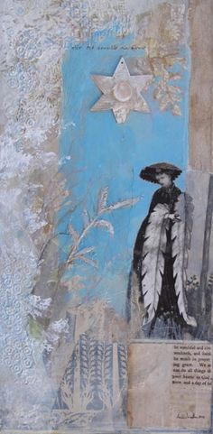 elle est sensible au froid ~ she is sensitive to the cold ~ mixed media ~ by dawn chandler ~ www.taosdawn.com