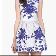 """White and Blue Baroque Style Dress Size M Reposh. Too short for me. Beautiful dress, white baroque pattern with blue floral print. Size Medium. 32.5-33""""bust, 28"""" waist, 33"""" length. New with tags. NO: trades, Mercari, PP, or lowballing. Just trying to get amount paid with site fee. Bundle discount offered. Not Anthropologie brand, just used for views. Happy Poshing:) Anthropologie Dresses Mini"""