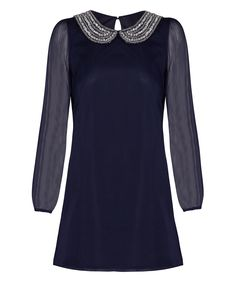 Look what I found on #zulily! Navy Rakhi Beaded Shift Dress by Iska London #zulilyfinds