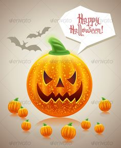 Concept: Be the Big Boss on Halloween!  100 vector Happy Halloween funny card design with emotional Jack-o-lantern pumpkins desig