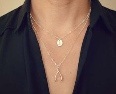 Beautiful double layer wishbone necklace from @daintylayers