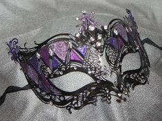 Shades of Purple and Black Metallic Masquerade Mask. Possibly add feather. AGM likes. Sweet 16 Masquerade, Masquerade Party, Masquerade Masks, Mascarade Mask, Shades Of Purple, Purple And Black, Pretty Black, Masquerade Halloween Costumes, Purple Halloween