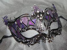 Shades of Purple and Black Metallic Masquerade Mask