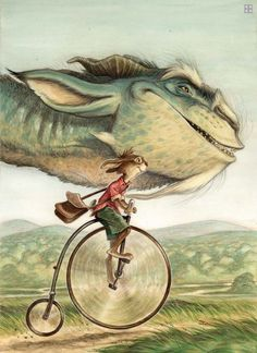 I love this dragonbeast riding next to this bunny! It seems like they have such important places to go. #art #rabbit #dragon #bicycle #adventure