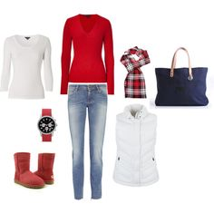 Winter casual. RL sweater, Northface vest, Uggs, MK watch, Will bag.