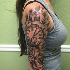 Grey Rose Flowers and Clock Tattoo On Right Half Sleeve by Travis Brown