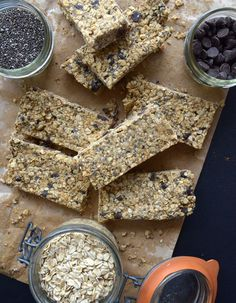 Vegan Chocolate Chip Chia Seed Granola Bars - No baking and just a handful of simple ingredients needed!