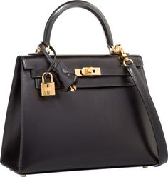 Hermes 25cm Black Calf Box Leather Sellier Kelly Bag with Gold Hardware
