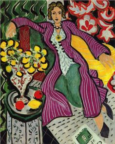 Woman in a Purple Coat  - Henri Matisse (1937). Matisse depicts his model and companion of many years, Lydia Delectorskaya, in an exotic Moroccan costume, surrounded by a complex of abstract design and exotic color. This is an example of one of the final groups of oil paintings in Matisse's career.