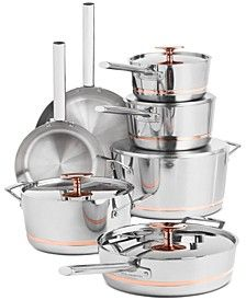 Equip your kitchen with performance and sleek style with this set from Hotel Collection. The five-ply cookware features copper cores for exceptional cooking control. Kitchen Appliance Storage, Kitchen Organization Pantry, Kitchen Appliances, Kitchen Utensils, Rose Gold Kitchen, Copper Kitchen, Kitchen Sets, Home Decor Kitchen, Diy Kitchen
