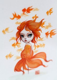 Image of Goldfish Girl - Pisces - framed miniature ATC ACEO original painting by Mab Graves
