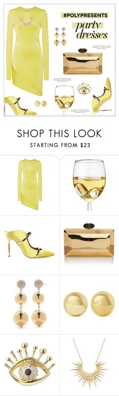 """""""#PolyPresents: Party Dresses"""" by alinepinkskirt ❤ liked on Polyvore featuring Cushnie Et Ochs, Malone Souliers, Judith Leiber, Kate Spade, Kenneth Jay Lane, Marc Jacobs, Celine Daoust, contestentry and polyPresents"""
