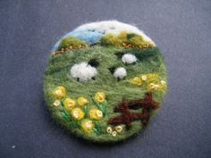 Unique Hand Made Needle Felted Brooch - 'With mum' by Tracey Dunn sheep brooch