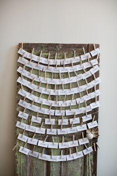 Seat card display idea (propped along a wall on top of a table or leaning against a table near front entrance area / cocktails) Indoor Fall Wedding, Indoor Wedding Receptions, Wedding Reception Decorations, Wedding Seating, Wedding Table, Wedding Rustic, Wedding Day Timeline, Wedding Trends, Trendy Wedding