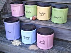 Coffee Canisters spray painted and reused. This site is loaded with great info from crafts to chickens