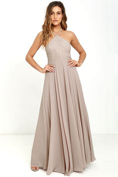 Lulus Exclusive! The Everlasting Enchantment Taupe Maxi Dress will have admirers under your spell! Adjustable spaghetti straps support a lacy halter bodice, then crisscross at back. Layers of chiffon sprout from a fitted waist, then sweep down to an elegant maxi length. Hidden back zipper with clasp.