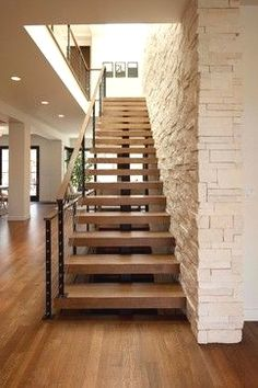 Home Design, Decorating & Remodeling Ideas — staircase by Andrea Swan - Swan Architecture. Rustic Staircase, Staircase Handrail, Stair Railing Design, Interior Staircase, Staircase Remodel, Modern Staircase, Floating Staircase, Stair Treads, Railings