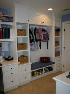 Mudroom - love the desk or at least a landing spot in the mudroom, but we probably don't have room. Maybe desk should go just outside mudroom door.