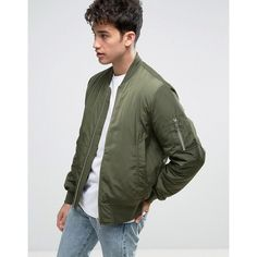 ASOS Bomber Jacket with MA1 Pocket in Khaki ($52) ❤ liked on Polyvore featuring men's fashion, men's clothing, men's outerwear, men's jackets, green, mens four pocket jacket, mens khaki bomber jacket, mens oversized denim jacket, mens khaki jacket and mens green jacket