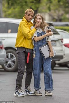 Young love: Jaden Smith appeared to be head-over-heels with his new love Odessa Adlon, 18,...