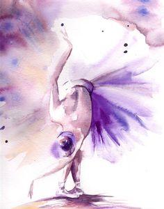 Ballerina Watercolor Print, Watercolor Painting Art Print, Purple Ballet Wall Art