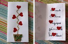 cartes fête des mères made by Mamzelle Mothers Day Cards, Valentine Day Cards, Valentine Crafts, Valentines, Diy For Kids, Crafts For Kids, Mather Day, Diy And Crafts, Paper Crafts