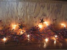 """Lighted Burgundy Pip Berry and Star Garland - 40"""""""