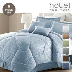 6-Piece Set: Hotel New York 1600 Series Comforter Collection with Embossed Bamboo Design - Assorted Colors at 76% Savings off Retail!